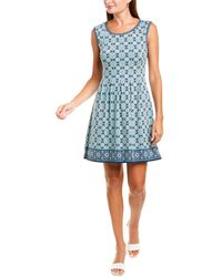 Max Studio Patterned A-line Dress - Blue