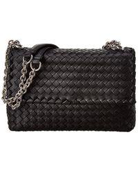 Bottega Veneta Olimpia Small Intrecciato Nappa Leather Shoulder Bag - Black