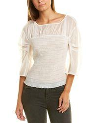 Rebecca Taylor Ruched Organza Silk-blend Blouse - White