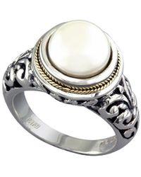 Effy Fine Jewellery Silver & 18k 10mm Pearl Ring - Metallic