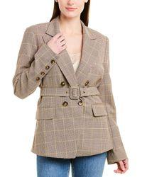 Jonathan Simkhai Plaid Double-breasted Wool-blend Blazer - Brown