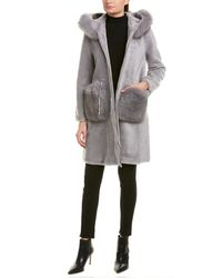 La Fiorentina Reversible Wool Coat - Gray
