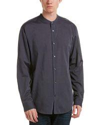 Vince Banded Collar Woven Shirt - Gray