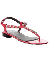 Balenciaga Giant Studded Leather T-strap Sandal - Pink