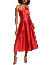 THEIA Textured Silk-blend Midi Dress