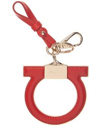 Ferragamo Gancio Leather Keychain - Red