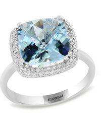 Effy Fine Jewellery 14k 4.33 Ct. Tw. Diamond & Aquamarine Ring - Blue