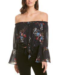 Parker Off-the-shoulder Floral Bell Sleeve Blouse - Black