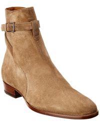 Saint Laurent Wyatt Jodhpur Suede Boot - Brown