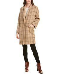 Vince Plaid Wool-blend Coat - Brown