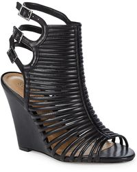 Schutz - Loreto Caged Leather Wedge Sandal - Lyst