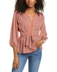 Max Studio Tie-front Blouse - Red