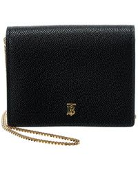 Burberry Jade Tb Grainy Leather Card Case On Chain - Black