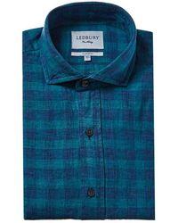 Ledbury Mcclellan Linen-blend Classic Fit Dress Shirt - Blue