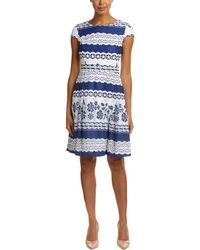 Tahari Tahari Asl A-line Dress - Blue