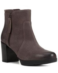Geox Aneeka Leather Ankle Boot - Brown
