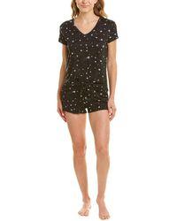Flora Nikrooz 2pc Loreta Printed Shirt & Short Set - Black