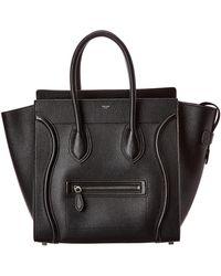 Celine Luggage Mini Leather Tote - Black