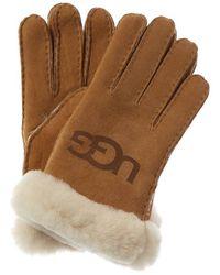 UGG Logo Suede Gloves - Brown