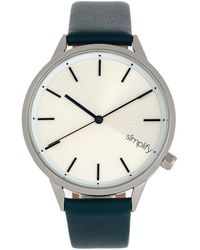 Simplify The 6700 Quartz Silver Dial Black Leatherette Watch - Metallic