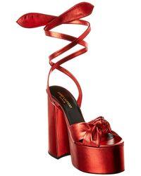 Saint Laurent Paige 110 Metallic Leather Platform Sandal - Red