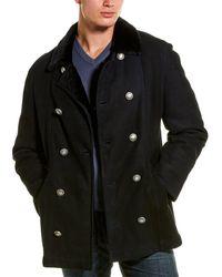 Brunello Cucinelli Suede Shearling Collar Coat - Black