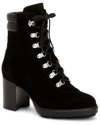 Aquatalia Iriana Weatherproof Suede & Leather Bootie - Black