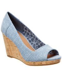 TOMS Stella Chambray Wedge Sandal - Blue