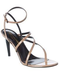 Saint Laurent Paris 75 Patent Sandal - Natural