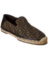 Fendi Ff Leather-trim Espadrille - Brown