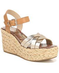 Sam Edelman Darline Leather Wedge Sandal - Metallic