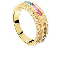 Gabi Rielle Gold Over Silver Cz Ring - Metallic