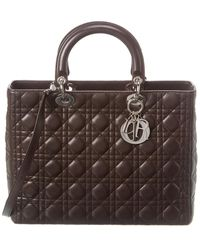 Dior Brown Quilted Lambskin Leather Large Lady