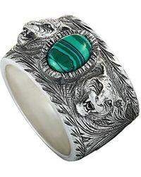 Gucci Garden Sterling Silver And Green Resin Feline Head Motifs Ring - Metallic