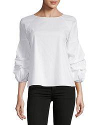 Saks Fifth Avenue Gingham Ruffle Sleeve Blouse - White