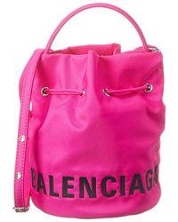 Balenciaga Wheel Xs Drawstring Bucket Bag - Pink