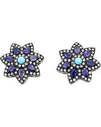 Arthur Marder Fine Jewelry Silver 0.75 Ct. Tw. Diamond & Gemstone Earrings - Blue