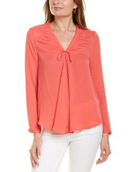 Marc Cain Coral V-neck Tie Neck Blouse Top - Pink