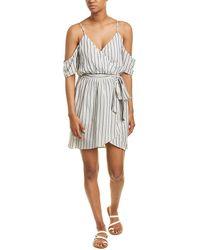 Wanderlux Cold-shoulder Wrap Dress - Grey