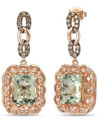 Le Vian ? 14k Rose Gold 6.84 Ct. Tw. Diamond & Green Amethyst Drop Earrings - Metallic