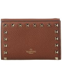 Valentino Rockstud Leather Continental Wallet - Brown