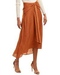 BCBGMAXAZRIA Draped Midi Skirt - Brown