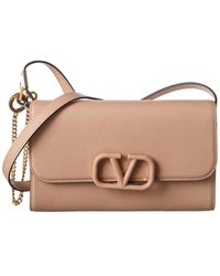 Valentino Vsling Grainy Leather Shoulder Bag - Natural