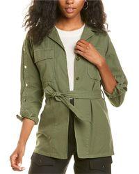 Sandro Bari Belted Linen-blend Jacket - Green