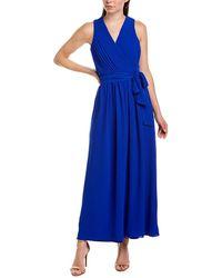 Donna Ricco Crepe Chiffon V-neck Maxi Dress - Blue