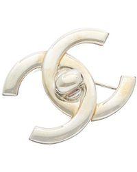 Chanel Silver-tone Large Cc Turnlock Pin - Metallic