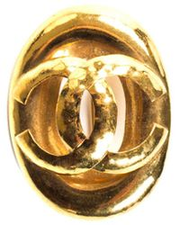 Chanel Gold-tone Oval Cc Brooch - Metallic