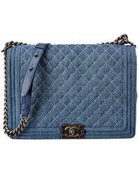 Chanel Blue Quilted Denim Large Single Flap Boy Bag