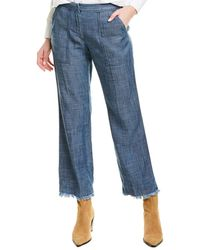 Trina Turk Check In Linen-blend Crop Pant - Blue