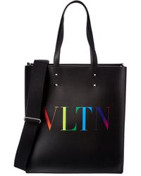 Valentino Vltn Leather Tote - Black